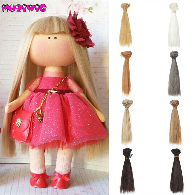 1pcs 15*100cm High Temperature Fiber Fashion Black Blonde Straight Hair Doll Hair Wefts for DIY <font><b>1/3</b></font> <font><b>1/4</b></font> 1/6 <font><b>BJD</b></font> SD Doll Wigs image