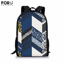 FORUDESIGNS Customize Backpack for Teenager Girl Boy Cool Stripe Lattice Print School Bag Childrens BookBag Daypack Mochila