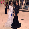 Lace Manga Comprida Vestidos de Baile Árabe Africano Mermaid Evening Vestidos O Pescoço Elegante Importante Festa Vestidos Preto E branco Z349