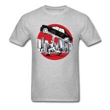 Brand New T-shirt Men Funny T Shirts Pedestrian Lifting Car Comics Tees Cotton Clothing Simple Summer Tops Students Tshirt