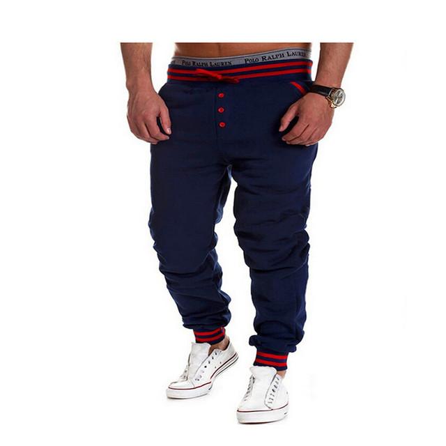 2016 Recién Llegado de Peso Medio de Mediana Moda Pantalon Homme Militar de Punto Ropa de Ocio Sólidos Botones Elásticos Pantalones Largos de Los Hombres