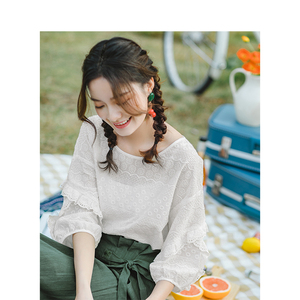 Image 4 - INMAN Summer O neck Literary Embroidery Loose Casual All Matched Half Sleeves Women Shirt