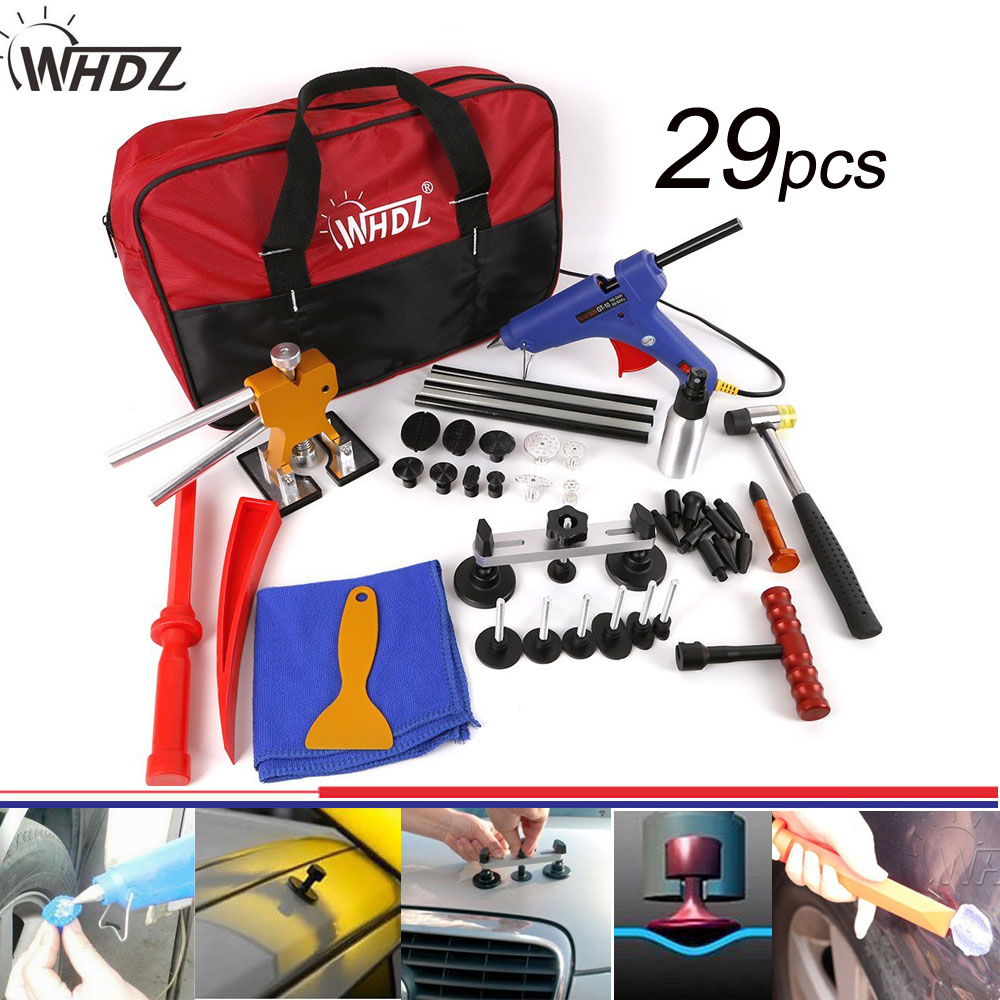 29pcs PDR Tool Hail Damage Repair Kit Fix Ding PDR Dent Lifter Paintless Hail Repair Tool Kits Automotive Dent Repair Kit hail damage repair kit removal of hail dents and door ding professional pdr rod paintless dent remover tools kit b7911c123456