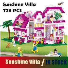 Совместимость с Lego Friends Модельные наборы для дома Pink Dream Series Sunshine Villa 0536 726pcs блоки Обучающие игрушки хобби
