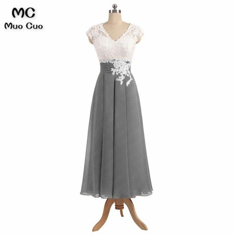 2018 Grey   Bridesmaid     Dresses   Long with Lace Appliques V-Neck Formal Wedding Party   Dress   Chiffon Women   Bridesmaid     Dress