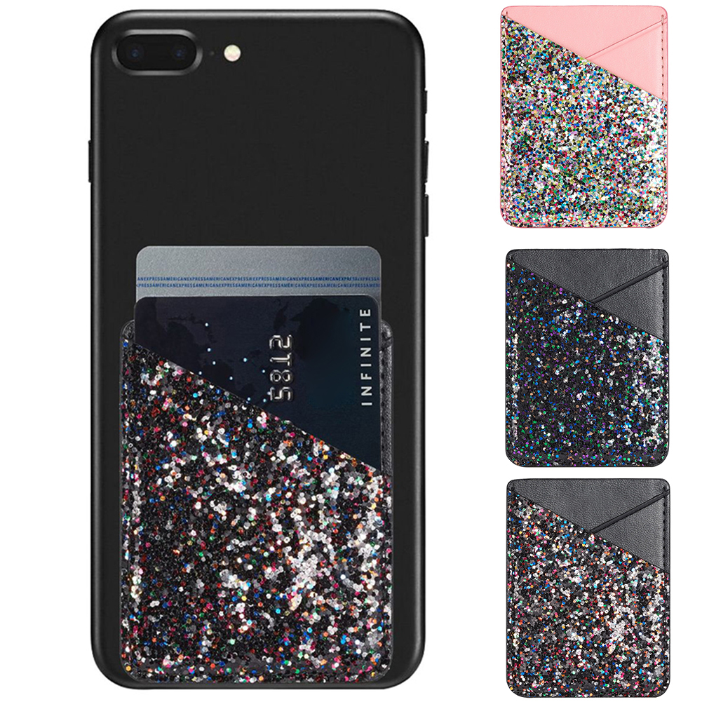 Bag PU Leather Sequins Decoration Wallet Case Multifunctional Fashion Phone Card Holder Pouch Stick On Solid Adhesive Universal