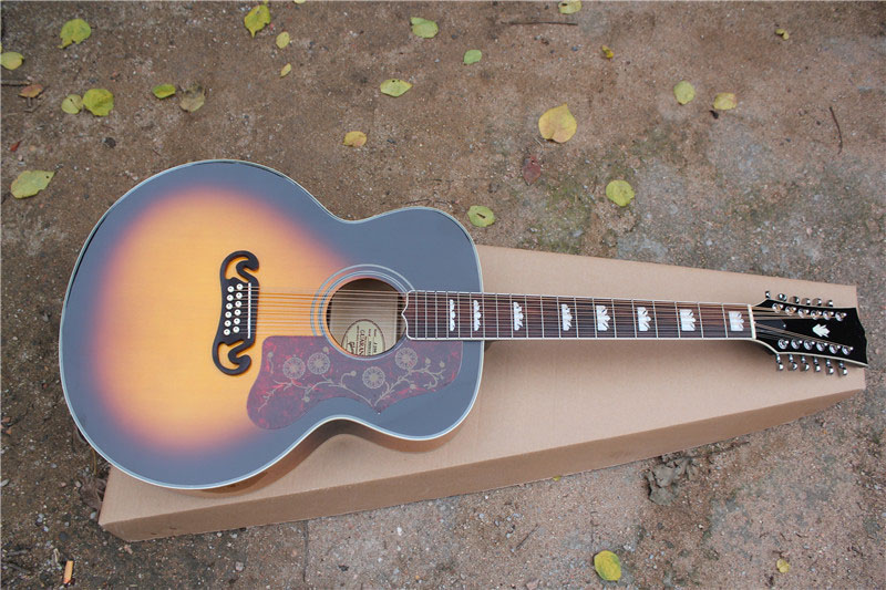 free shipping New Top Quality 12 strings J200 Sunburst acoustic guitar top solid spruce wood   1 2 high quality solid wood guitar 41 inch spruce wood panel acoustic guitar guitarra free shipping