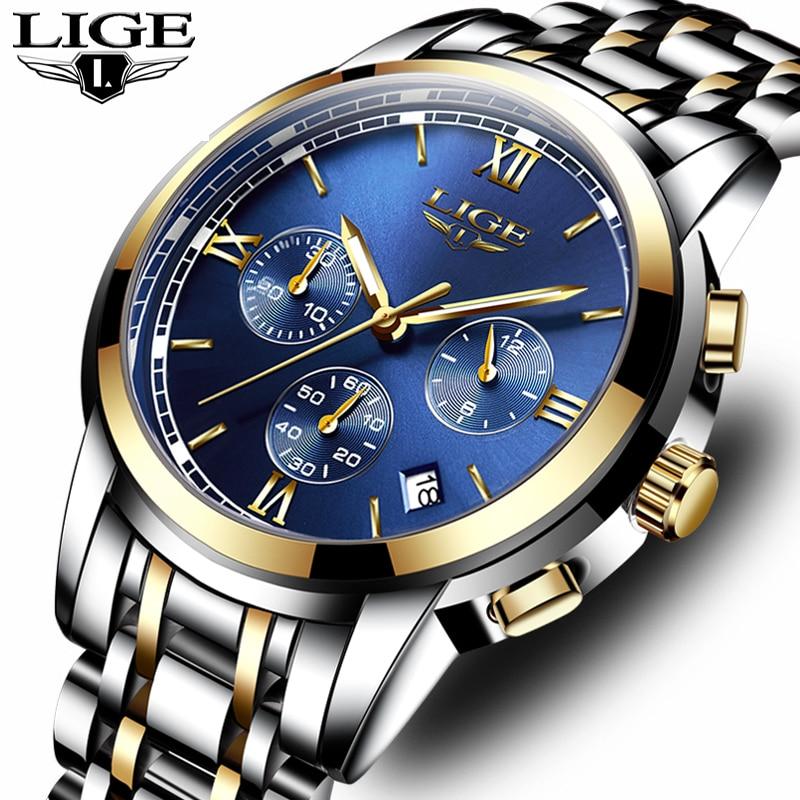 Men Watch Brand LIGE Fashion Casual Sport Watches Luxury Military Quartz Watch Full Steel Business Men Watches Relogio Masculino
