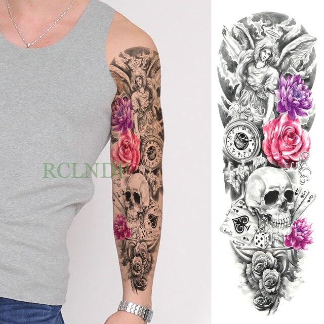 ed12c5d08dfa1 Waterproof Temporary Tattoo Sticker Rose Clock Skull Angel Poker full arm  fake tatto flash tatoo sleeve