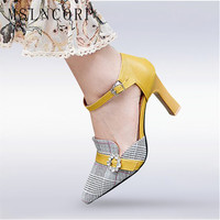 plus size 34 46 Fashion Women Pumps Sandals Jacquard Fabric Plaid High Heel Summer Pointed Toe Shoes Casual Sexy Party Buckle
