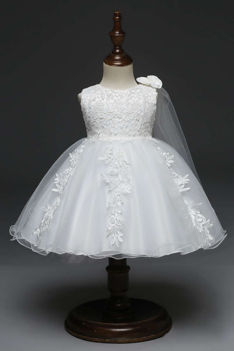 e0e367479fce 2019 Baby Girl Dresses 3 6 9 12 18 24 Months White Lace Wedding ...