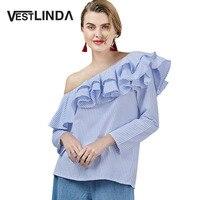 VESTLINDA One Shoulder Ruffles Blouse Tops Women Blue Stripped Blouses Long Sleeve Blusa Feminina 2017 Fashion