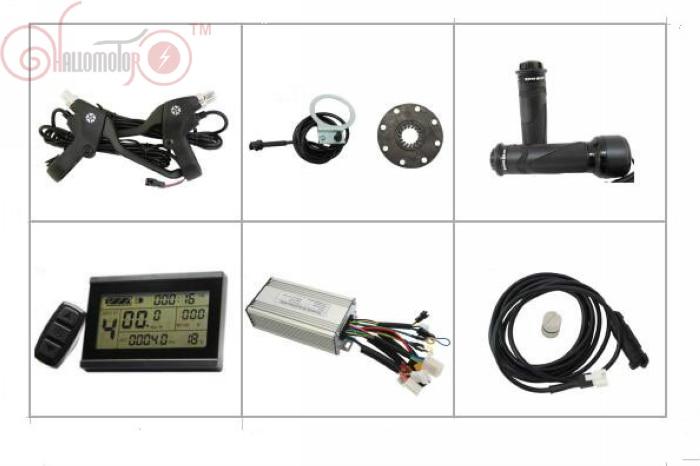 Contrôleur de Kit Ebike ConhisMotor 24 V 500 W avec fonction régénératrice et inverse + leviers de frein à capteur de vitesse PAS à PAS LCD