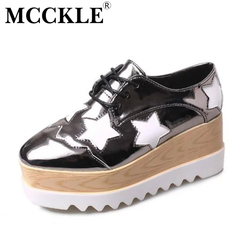 MCCKLE Fashion Woman Shoes Wedges Heels Platform Ladies Casual Lace Up Female Square Toe 2017 New Patent Leather Women's Shoes mcckle 2017 fashion woman shoes flat women platform round toe lace up ladies office black casual comfortable spring