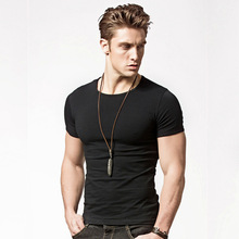 S-5XL 2019 New Fashion Lycra Short Sleeve Men T Shirt Black White T-shirt Fitness Elastic for Male  FreeShipping