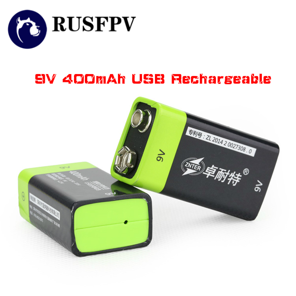 1pc ZNTER S19 9V 400mAh USB Rechargeable 9V Lipo Battery RC Battery For Camera FPV Drone Accessories microphone