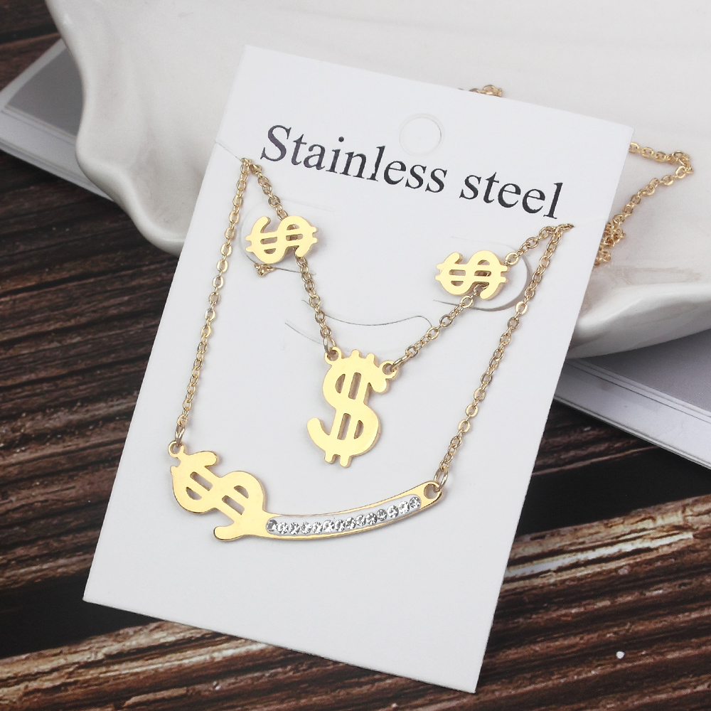 Women Infinite Love Heartbeat Stainless Steel Jewelry Sets Gold Color Metal Rhinestones Cross Necklace Earrings Fashion Jewelry(China)