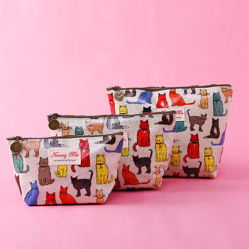 Versão Fashion Dog New Cat Impresso Saco de Mão Cosméticos Mulheres Maquiagem Sacos Feminino Bolsa de Mão Com Zíper Viagem Portátil Make Up bolsa