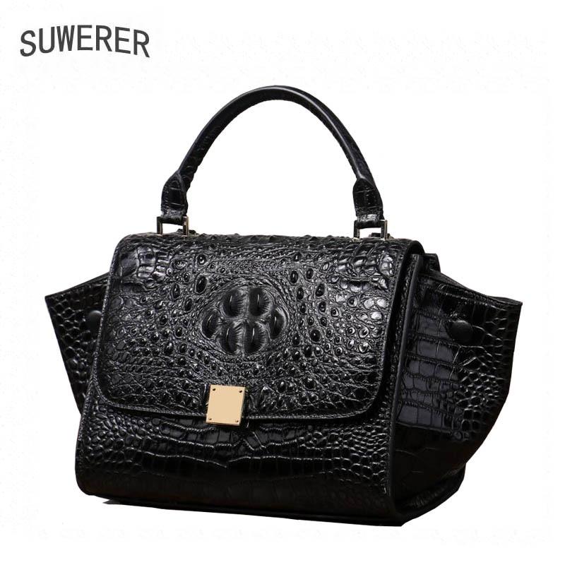 SUWERER New Superior cowhide genuine leather tote women handbags Embossed crocodile pattern Fashion luxury wings bag