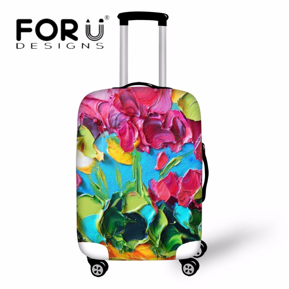 FORUDESIGNS Vintage Travel Suitcase Cover Flower Painting Elastic Spandex Travel Accessories Rain Cover for 18-30 Inch Suitcase