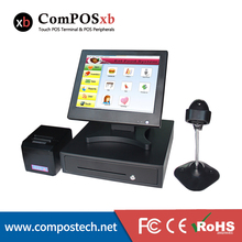 Free Shpping Cash Register With 15 Inch Touch Monitor POS System With Printer With Cash Drawer With Scanner For Shop