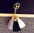 Korea style gold plated Colorful Key Chains Bag AccessoriesIce Silk Tassel Pompom Car Keychain Handbag Key Ring for women