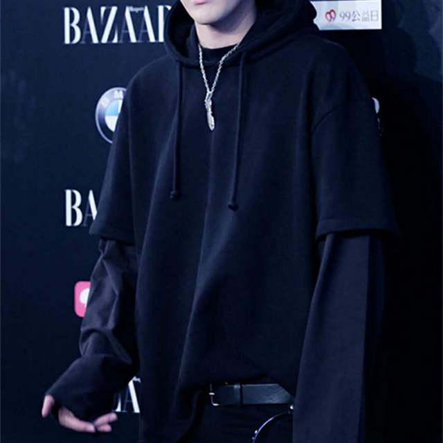 US $29 99 |kpop EXO Kris Wu Yifan same autumn winter Plus velvet hooded  loose fake two piece men women hoodies 2018 korean sweatshirts-in Hoodies &