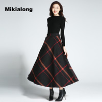 Mikialong 2017 Autumn Winter Thicken Wool Skirt Women Vintage Plaid Long Maxi Skirt For Women Petticoat