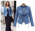 2015 Primavera Verão Novo Azul Do Vintage Jaqueta Curta Denim Moda Quente Outwear Zipper calças de Brim Das Mulheres do Revestimento do Revestimento S, M, L, XL