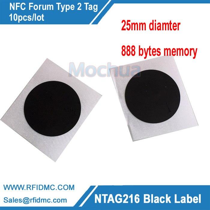 NTAG216 Label Black Color NFC tag with self-adhesive 888 bytes memory-10pcs/lot
