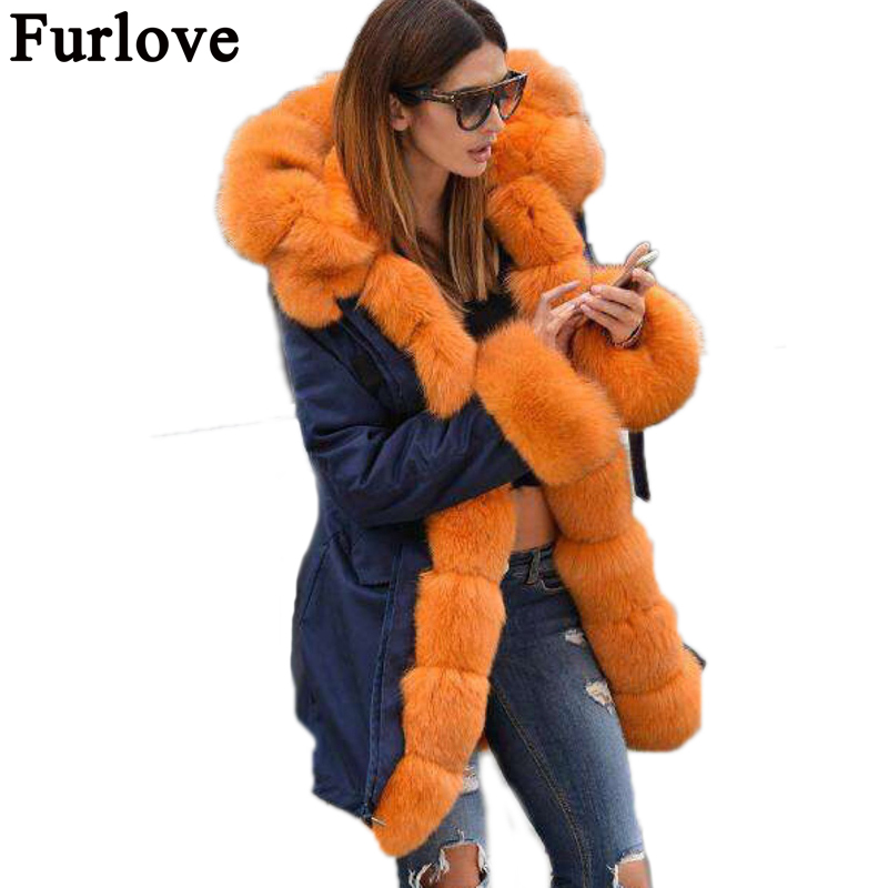 Furlove 2017 new parka real fur coat winter jacket women natural big fox Fur Collar hooded Thick Warm Faux Fur liner parkas real fox fur liner winter jacket women new long parka real fur coat big raccoon fur collar hooded parkas thick outerwear