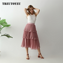цена на 2019 Summer harajuku high waist Maxi long skirt Layered Chiffon Pleated skirts womens  spodnica jupe faldas rok saia plissada