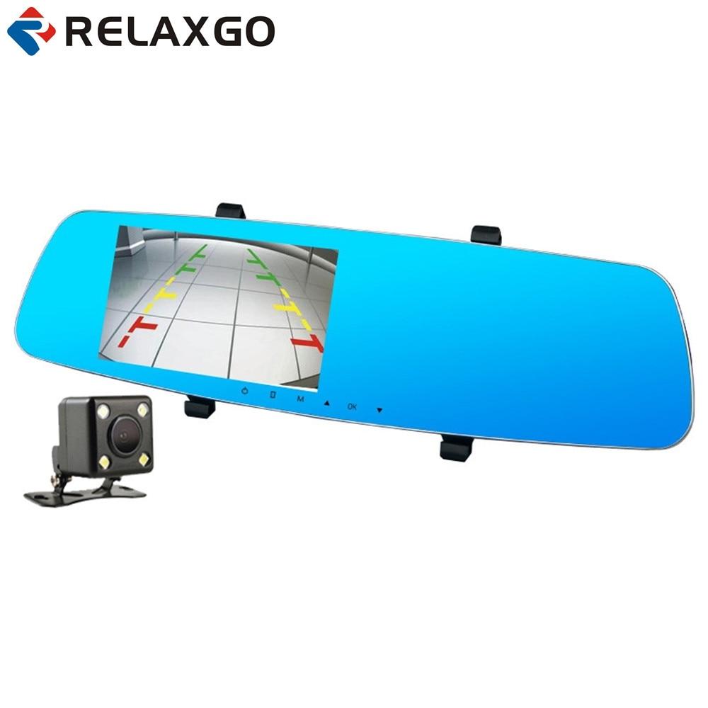 Relaxgo 5 Car DVR Novatek 96655 Full HD 1080P Rearview Mirror Car Camera Dual Lens Parking