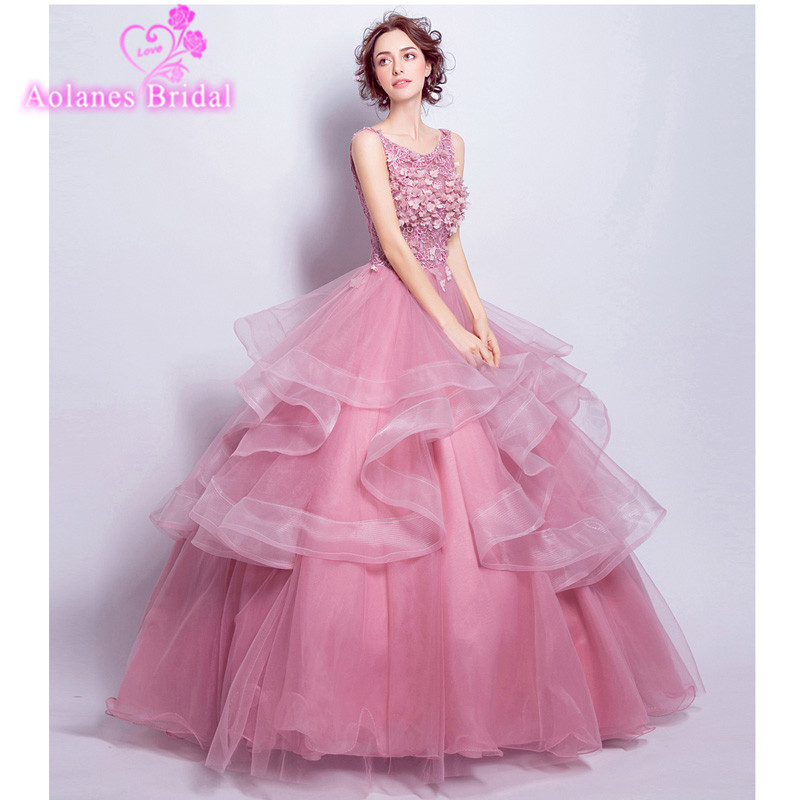 2017 New Evening Dress Bride Banquet Elegant Blush Pink Lace Flower Scoop Neck Floor-length Party Ball Gown Custom Prom Dresses