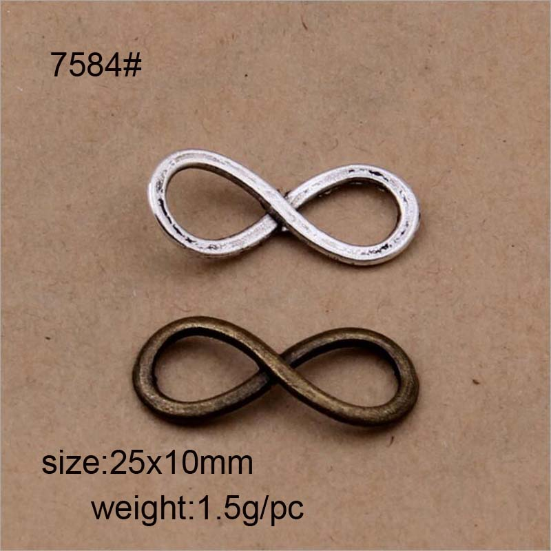 20 Pack Small Metal Fashion Sign Jewelry Making Charms Pendant Twisted Number Eight 8 Infinite Sign Pendant Charm Accessories