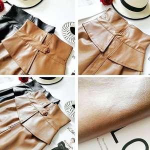 Image 5 - Женская мини юбка с разрезом ih, черная юбка карандаш из искусственной кожи с высокой талией в стиле пэчворк, весна 2019