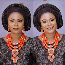 De luxe De Mariage Africain Coral Bijoux de Mariée Sets Costume Femmes Bijoux Ensembles Grande Perle De Corail Collier Set Livraison Gratuite CNR801