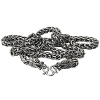 925 пробы серебро Винтаж тайский серебряный Ретро Для мужчин и Для женщин цепи Цепочки и ожерелья Fine Jewelry двойной китайский Dargon масштаба цепи
