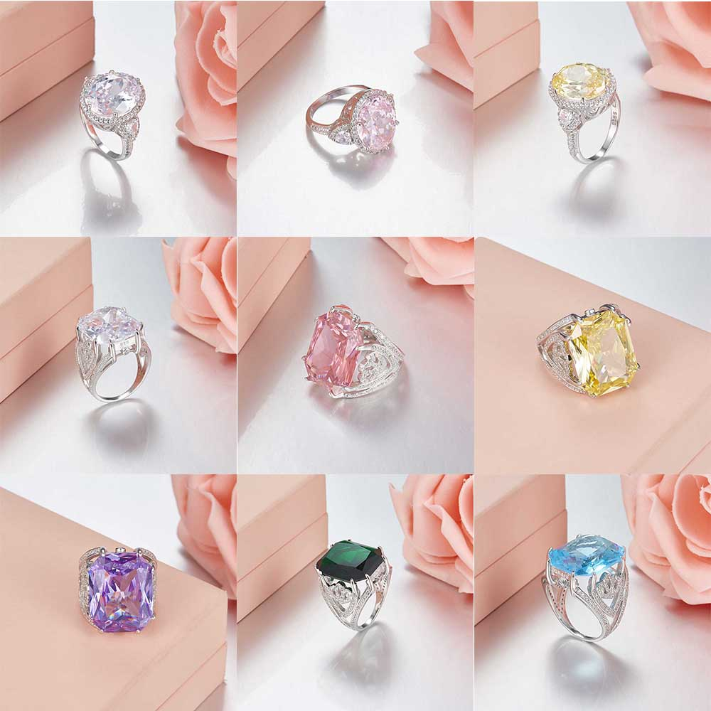 TIFF 925 Sterling Silver Original ring Unique and beautiful Clear CZ Charms rings Fit DIY Original Jewellery Factory wholesale