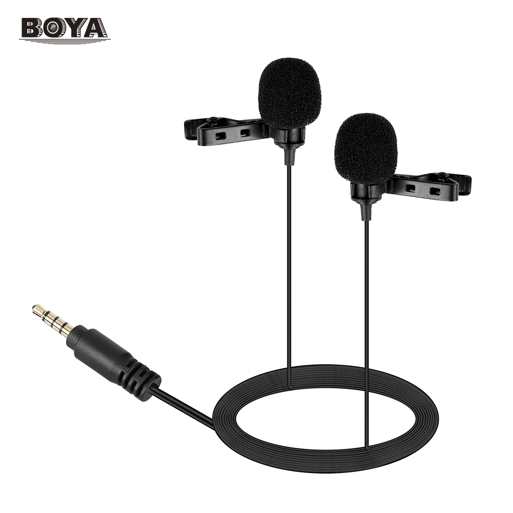 BOYA Dual-head Lavalier Lapel Microphone Omni-directional Condensor Mic for Canon Nikon DSLR Camcorder PC BY-LM300 Microphone колонка i style lm300