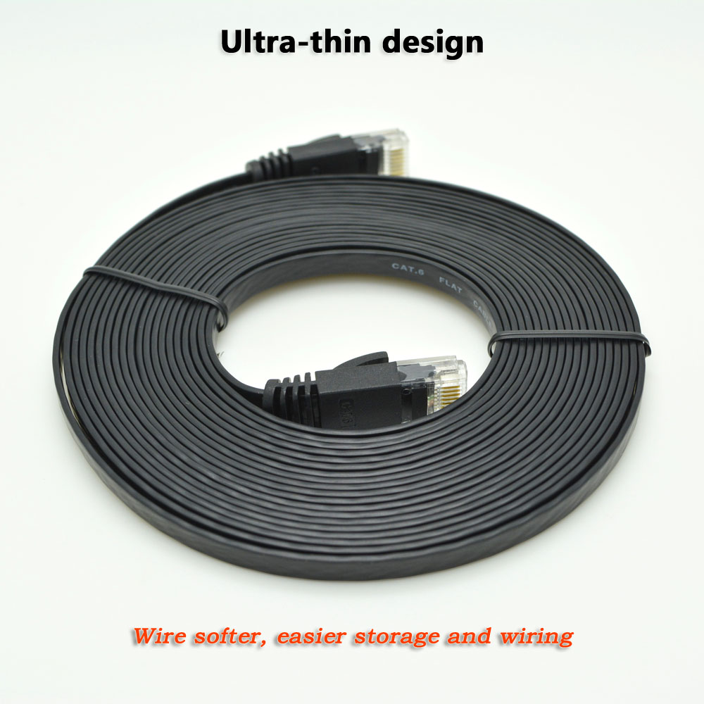 10ft 3m Flat Utp Cat6 Network Cable Computer Gigabit Ethernet Patch Wiring Cord Rj45 Adapter Copper Twisted Pairs Gige Lan In Cables
