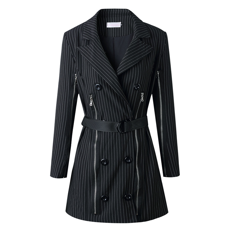 Spring 2019 The New Street The European And American Stars The Long Suit Coat In The Stripe On The Same Street Clothes Women