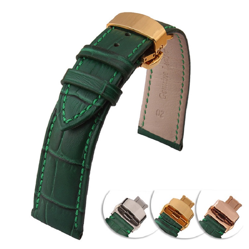 Genuine Calfskin Leather Watch Strap Green Bamboo Flexible Durable Breathable And Stink-Free For Male Female 18mm 20mm 22mm