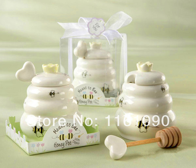 Free Shipping 50pcs Lot Factory Price Meant To Bee Ceramic Honey Pot