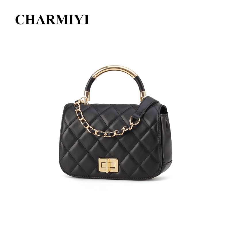 CHARMIYI Brand Cowhide Leather Small Women Top-Handle Bag High Quality Women Handbags Casual Female Shoulder Crossbody Bags Tote flower pattern top handle bags for girls hobos small women leather tote bag women bag female handbags black purses and handbags