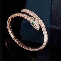 Роскошный дизайнер украшений Белое золото/розовое золото 3A кубического циркония 925 пробы серебряный браслет, micropave браслет змея