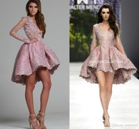 2019 Sexy Pink Short Long Sleeves High Low Cocktail Party Dresses Plunging Lace Appliques Hi lo Short Prom Dresses Custom Made