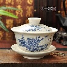 Tee-set Enthalten 1 Topf 1 Untertasse, hohe qualität elegante gaiwan, Schön und einfach teekanne wasserkocher, Blauen und weißen porzellan gaiwan