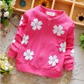 The spring of 2016 cartoon flowers Pure cotton Female baby coat