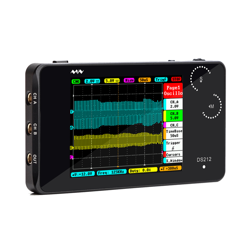 Portable  2 Channel Digital Oscilloscope DS212 DSO  USB Interface 8MB Memory Storage Bandwidth 1MHz Sampling Rate 10MSa/s dso 150 2 0 lcd usb dual channel oscilloscope
